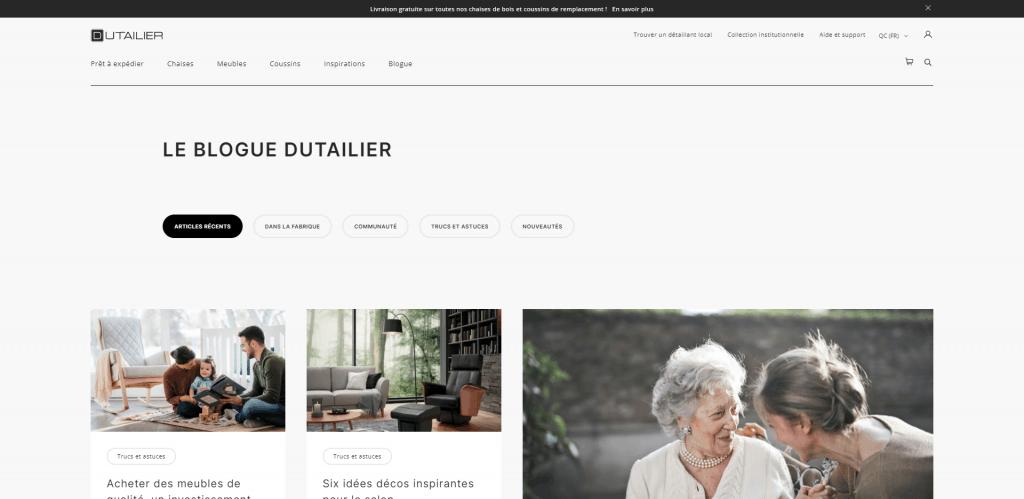Le Blogue Dutailier, fabricant de fauteuils berçants