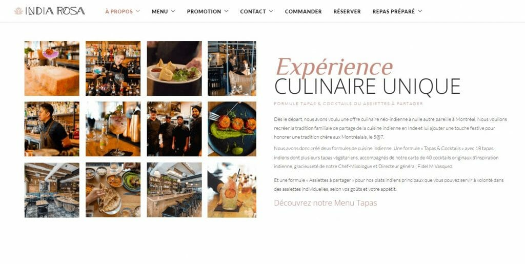 L'expérience culinaire India Rosa